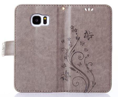 Samsung Galaxy A8 Plus Leder Etui Blume Schmetterling Hülle Flip Case Cover GRAU – Bild 6