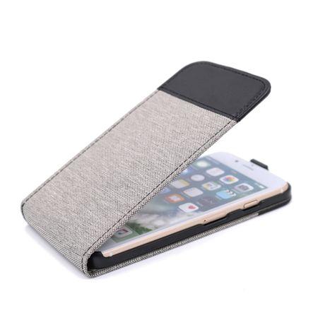 Samsung Galaxy A8 Plus Vertikal Stoff Leder Hülle Etui Cover Case Tasche Canvas Kartenfach GRAU – Bild 1