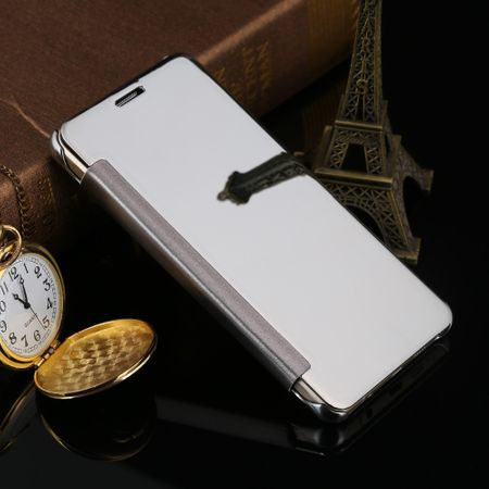 Samsung Galaxy A8 Plus Clear Window View Case Cover Spiegel Mirror Hülle SILBER – Bild 3