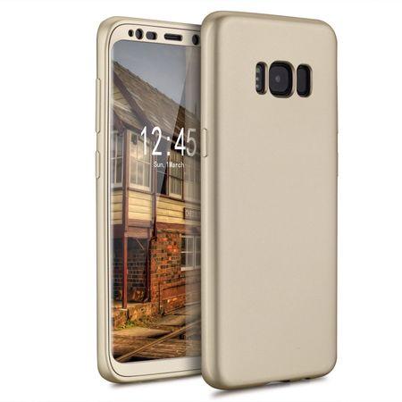Samsung Galaxy A8 Plus Komplett Schutz Case + Panzerglas Full Protection Cover Hülle GOLD – Bild 2