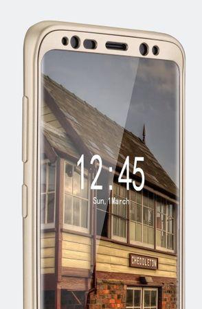 Samsung Galaxy A8 Plus Komplett Schutz Case + Panzerglas Full Protection Cover Hülle GOLD – Bild 6