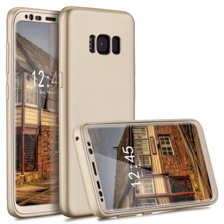 Samsung Galaxy A8 Plus Komplett Schutz Case + Panzerglas Full Protection Cover Hülle GOLD – Bild 1