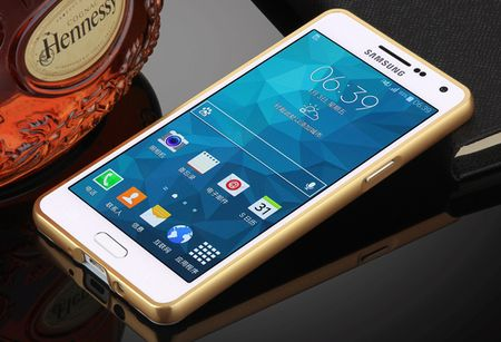 Samsung Galaxy A8 Plus Alu-Bumper Mirror mit Spiegel-Rücken Metall Bumper Case Hülle Aluminium GOLD – Bild 2