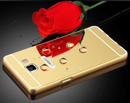 Samsung Galaxy A8 Plus Alu-Bumper Mirror mit Spiegel-Rücken Metall Bumper Case Hülle Aluminium GOLD – Bild 3