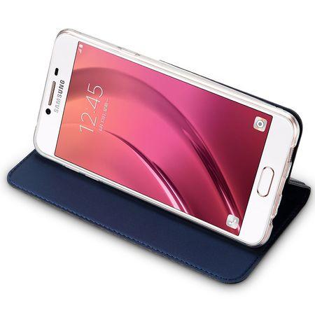 Samsung Galaxy A8 Plus DUX DUCIS Etui Leder Case Hülle mit Kartenfach BLAU – Bild 5