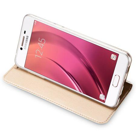 Samsung Galaxy A8 Plus DUX DUCIS Etui Leder Case Hülle mit Kartenfach GOLD – Bild 5