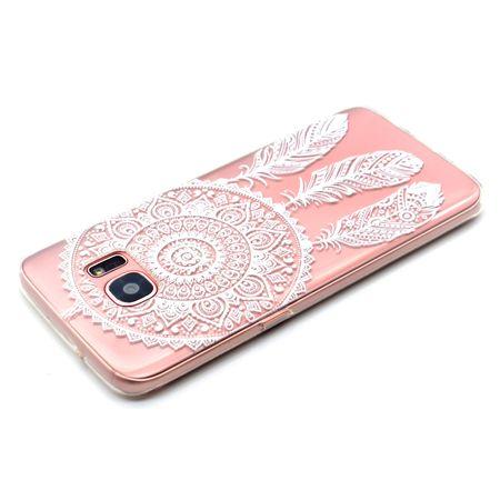 Samsung Galaxy A8 Plus Traumfänger Dreamcatcher Gummi TPU Silikon Case Hülle WEISS – Bild 2