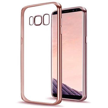 Samsung Galaxy A8 Plus Metallic Gummi TPU Silikon Case Hülle Schutzhülle Cover Klar ROSÉGOLD – Bild 1