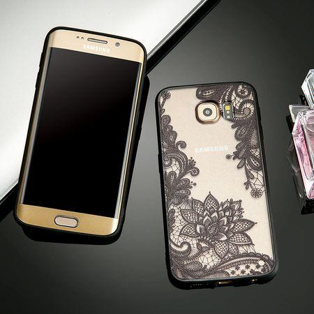 Samsung Galaxy A8 Plus Lace Rüschchen Mandala Henna Hülle Gummi TPU Silikon Case Cover – Bild 2
