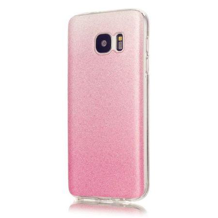 Samsung Galaxy A8 Plus Glitzer Hülle Gummi TPU Klar Silikon Crystal Clear Case ROSÉGOLD Pink Rosa – Bild 1