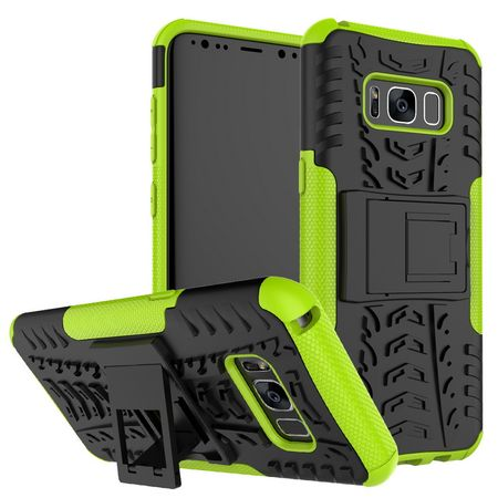 Samsung Galaxy A8 Plus Hybrid Outdoor Hülle Case Shock Proof GRÜN / SCHWARZ – Bild 1