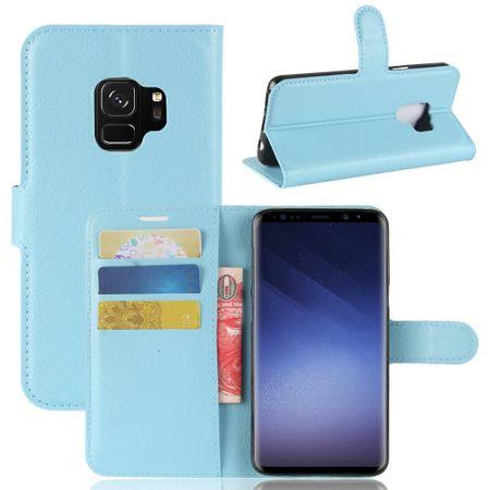 Samsung Galaxy S9 Flip Etui Leder Case Tasche Hülle mit Kartenfach BLAU – Bild 1