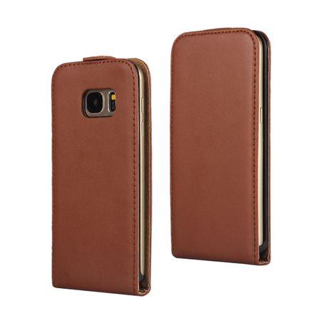 Samsung Galaxy S9 Leder Flip Case Cover Etui Tasche Vertikal Hülle BRAUN – Bild 1
