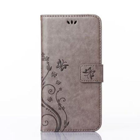 Samsung Galaxy S9 Leder Etui Blume Schmetterling Hülle Flip Case Cover GRAU – Bild 3