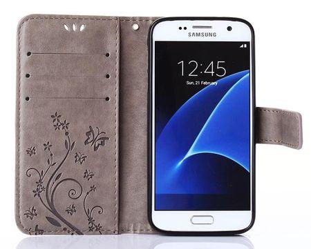 Samsung Galaxy S9 Leder Etui Blume Schmetterling Hülle Flip Case Cover GRAU – Bild 4