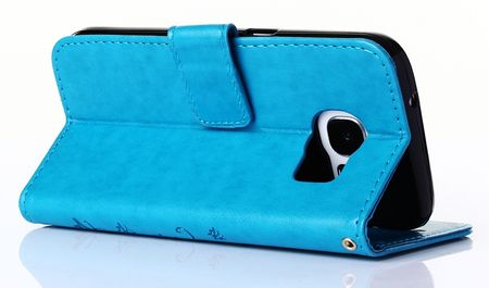 Samsung Galaxy S9 Leder Etui Blume Schmetterling Hülle Flip Case Cover BLAU / TÜRKIS – Bild 7