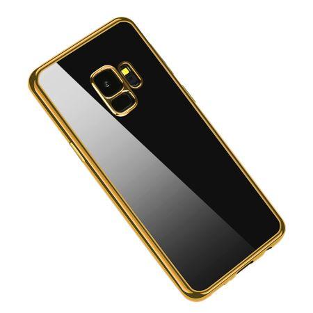 Samsung Galaxy S9 Metallic Gummi TPU Silikon Case Hülle Schutzhülle Cover Klar GOLD – Bild 5