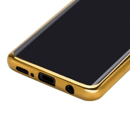 Samsung Galaxy S9 Metallic Gummi TPU Silikon Case Hülle Schutzhülle Cover Klar GOLD – Bild 6