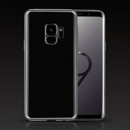 Samsung Galaxy S9 Metallic Gummi TPU Silikon Case Hülle Schutzhülle Cover Klar SILBER – Bild 2