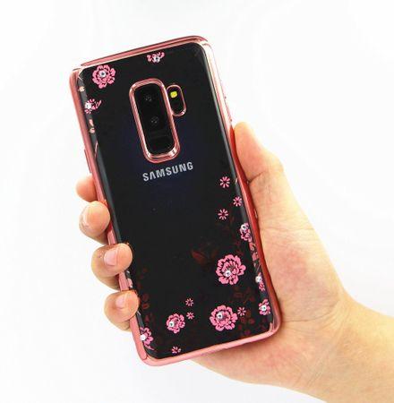 Samsung Galaxy S9 Glitzer Blumen Hülle TPU Silikon Case PINK Roségold – Bild 3