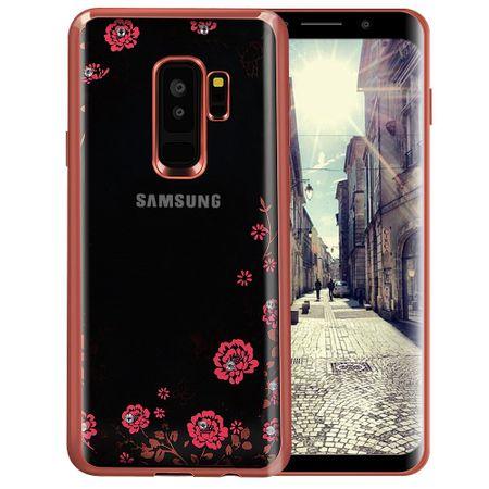 Samsung Galaxy S9 Plus Glitzer Blumen Hülle TPU Silikon Case PINK Roségold – Bild 1