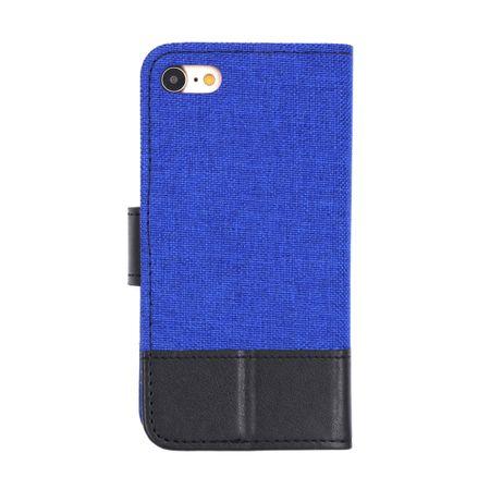 Sony Xperia XA2 Stoff Leder Hülle Etui Flipcase Cover Case Tasche Canvas Kartenfach BLAU – Bild 2