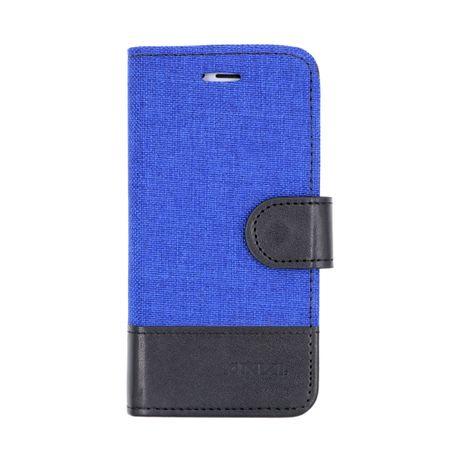 Sony Xperia XA2 Stoff Leder Hülle Etui Flipcase Cover Case Tasche Canvas Kartenfach BLAU – Bild 1