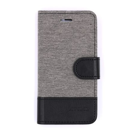 Sony Xperia XA2 Ultra Stoff Leder Hülle Etui Flipcase Cover Case Tasche Canvas Kartenfach GRAU – Bild 1