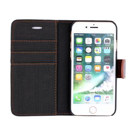 Sony Xperia XA2 Ultra Stoff Leder Hülle Etui Flipcase Cover Case Tasche Canvas Kartenfach GRAU / BRAUN – Bild 3