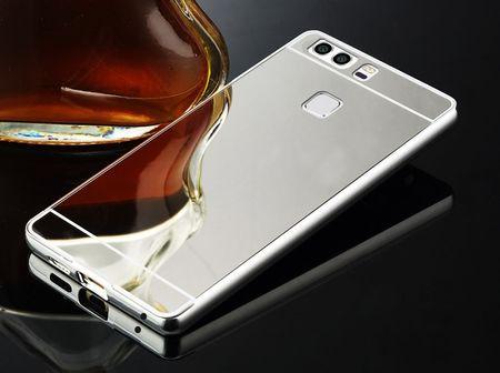 Sony Xperia XA2 Ultra Alu-Bumper Mirror mit Spiegel-Rücken Metall Bumper Case Hülle Aluminium SILBER – Bild 2