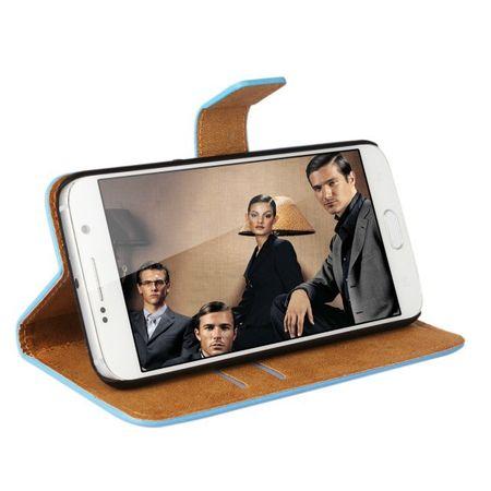 Samsung Galaxy S6 Flip Etui Tasche Hülle Leder Case mit Kartenfach BLAU – Bild 3