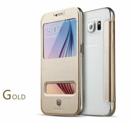 Samsung Galaxy S6 ORIGINAL Baseus Window View Flip Etui Fenster Hülle Leder Case Tasche GOLD – Bild 4