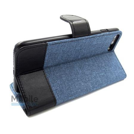 Huawei P9 Plus Stoff Leder Hülle Etui Flipcase Cover Case Tasche Canvas Kartenfach BLAU – Bild 4