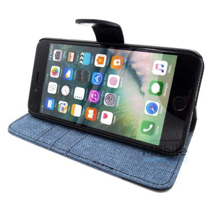 Huawei P9 Plus Stoff Leder Hülle Etui Flipcase Cover Case Tasche Canvas Kartenfach BLAU – Bild 5