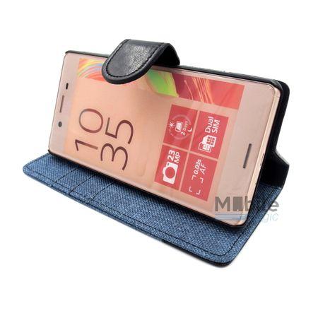 Sony Xperia Z5 Compact Stoff Leder Hülle Etui Flipcase Cover Case Tasche Canvas Kartenfach BLAU – Bild 5