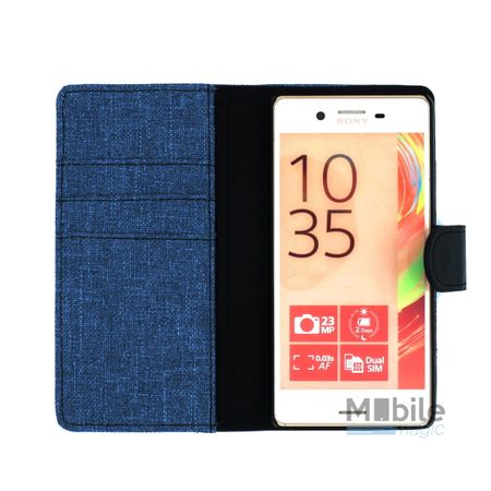 Sony Xperia XA Stoff Leder Hülle Etui Flipcase Cover Case Tasche Canvas Kartenfach BLAU – Bild 3