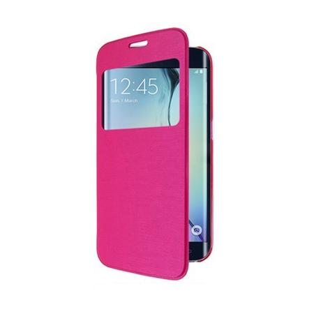 Samsung Galaxy S6 Edge Window View Cover Flip Etui Fenster Hülle Leder Case Tasche PINK ROSA – Bild 1
