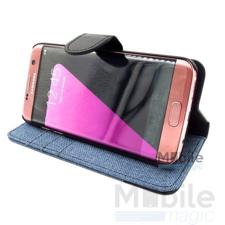 Huawei Honor 8 Stoff Leder Hülle Etui Flipcase Cover Case Tasche Canvas Kartenfach BLAU – Bild 3