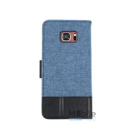 Huawei Honor 8 Stoff Leder Hülle Etui Flipcase Cover Case Tasche Canvas Kartenfach BLAU – Bild 2