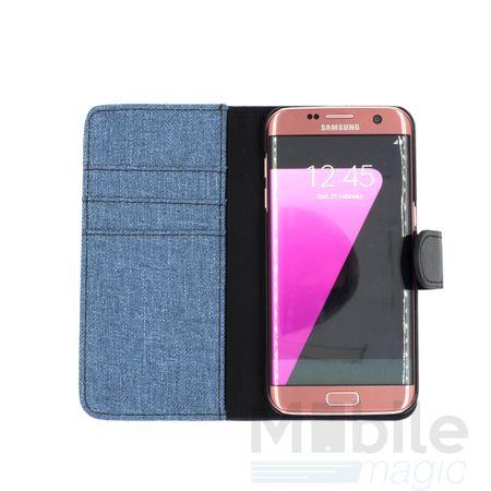 Huawei Honor 8 Stoff Leder Hülle Etui Flipcase Cover Case Tasche Canvas Kartenfach BLAU – Bild 4