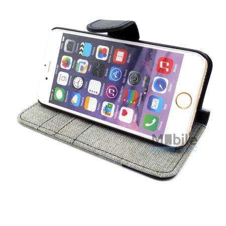 iPhone 6S / 6 Stoff Leder Hülle Etui Flipcase Cover Case Tasche Canvas Kartenfach GRAU – Bild 5