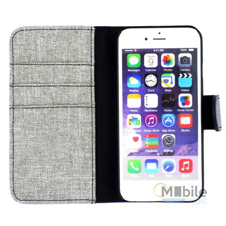 iPhone 6S Plus / 6 Plus Stoff Leder Hülle Etui Flipcase Cover Case Tasche Canvas Kartenfach GRAU – Bild 3