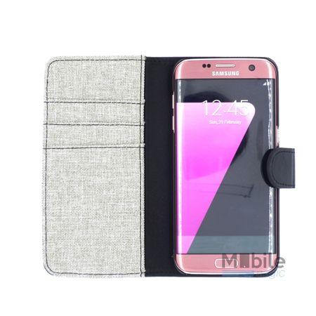 Samsung Galaxy S7 Edge Stoff Leder Hülle Etui Flipcase Cover Case Tasche Canvas Kartenfach GRAU – Bild 3
