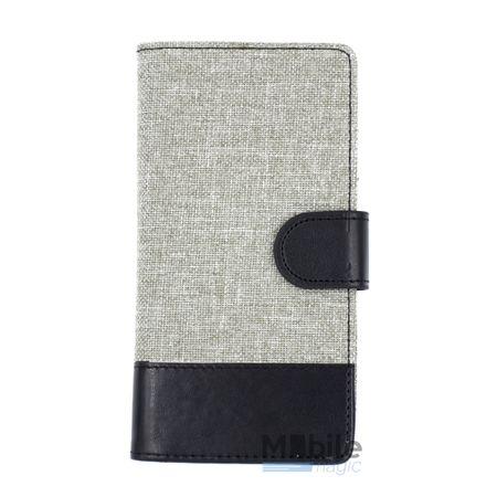 Huawei P9 Lite Stoff Leder Hülle Etui Flipcase Cover Case Tasche Canvas Kartenfach GRAU – Bild 1