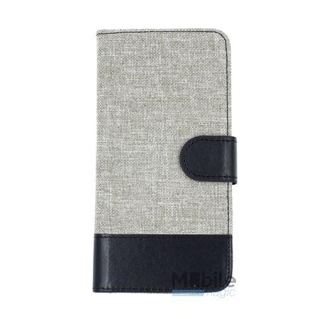 Huawei P9 Stoff Leder Hülle Etui Flipcase Cover Case Tasche Canvas Kartenfach GRAU – Bild 1