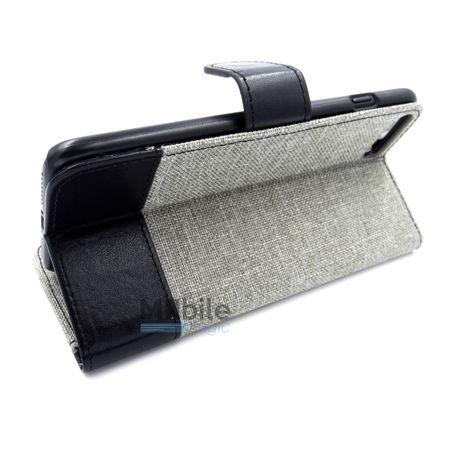 Huawei P9 Plus Stoff Leder Hülle Etui Flipcase Cover Case Tasche Canvas Kartenfach GRAU – Bild 4