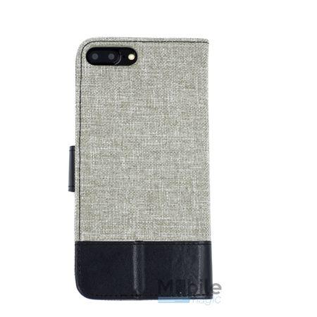 Huawei P9 Plus Stoff Leder Hülle Etui Flipcase Cover Case Tasche Canvas Kartenfach GRAU – Bild 2
