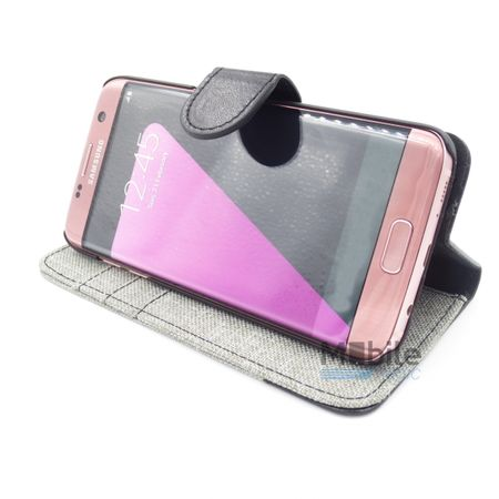 Samsung Galaxy A3 2016 Stoff Leder Hülle Etui Flipcase Cover Case Tasche Canvas Kartenfach GRAU – Bild 5