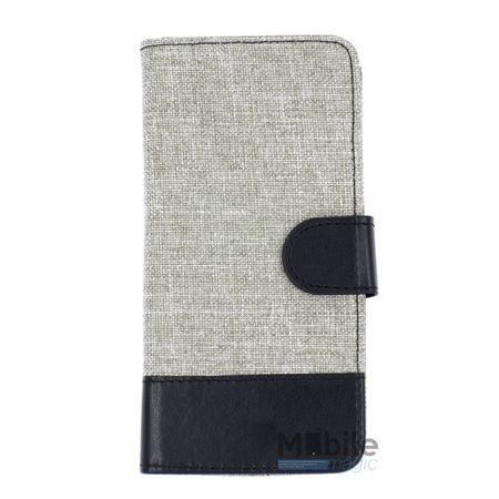 Samsung Galaxy A3 2016 Stoff Leder Hülle Etui Flipcase Cover Case Tasche Canvas Kartenfach GRAU – Bild 1