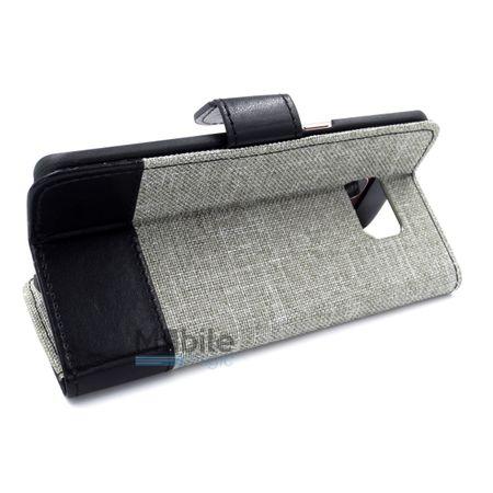 Samsung Galaxy A5 2016 Stoff Leder Hülle Etui Flipcase Cover Case Tasche Canvas Kartenfach GRAU – Bild 4